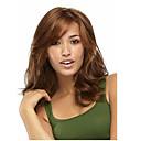 サイド強打とキャップレス茶色の長い高品質の天然カーリー合成かつら