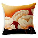 大きな白い花柄のコットン/リネン装飾的な枕カバー