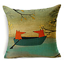 country stilu Fox i uzorak Brod pamuk / lan dekorativne jastučnicu