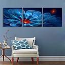 E-home® rastegnut na čelu platnu print umjetnosti plave cvjetove bljesak djelovanje vodio set od 3