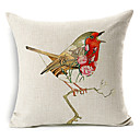 手描きの歌鳥のパターンコットン/リネン装飾的な枕カバー