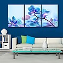 E-home® pruži platnu si plavo cvijeće ukras slikarstvo set 3