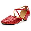 Non Přizpůsobitelné - Dámské - Taneční boty - Moderní - Kůže - Masivní podpatek - Černá / Červená