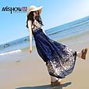 mishow ®women'sround límec bohémský styl foloral vzor šifon bez rukávů slim pláž šaty