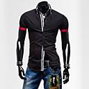 男性用 プレイン カジュアル シャツ,半袖 コットン混 ブラック / ブルー
