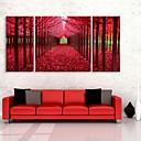 E-home® pruži platnu si crveno drvo ukrasne slikarstvo set 3