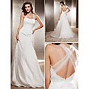 Lanting Bride Trumpet/Mermaid Petite / Plus Sizes Wedding Dress-Chapel Train Square Lace