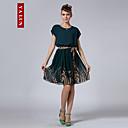 婦人向け ドレス , シフォン 膝丈 半袖