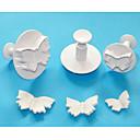 4-cのバタフライケーキプランジャカッター、高品質のフォンダンツール、ペストリーカッターケーキツールセット