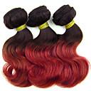 3pcs / puno, 100g / kom, 8inch Brazilski boju kose djevičansko tijelo val 1b / crvena kosa plete