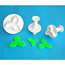 プランジャーカッター、高品質のフォンダンツールを飾る4-Cのプラスチック3葉ヒイラギフォンダンケーキ