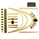 1ks zlaté a černé dlouhé náramek a náhrdelník tetování nálepka 23x15.5cm