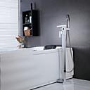 現代風 床取付け 滝状吐水タイプ / ハンドシャワーは含まれている / 床置き with  セラミックバルブ シングルハンドルつの穴 for  クロム , 浴槽用水栓