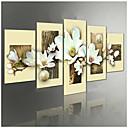 何の枠を設定していないキャンバスの5pcs /上手描き蘭の花グループの油絵