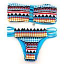 Ženski Bikini - Bandeau grudnjak - Push-up - Geometrijski oblici - Najlon