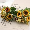 hedvábí slunečnice kytice 2 kytice / Lot každý kytice 5 hlavy na svatební dekorace