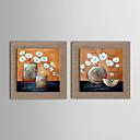 olejomalba moderní abstraktní květy ručně malované přírodní prádlo s roztažený zarámovaný - sada 2