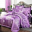 Květinový Povlečení 4 kusy Směs hedvábí a bavlny Luxusní Reaktivní barviva Směs hedvábí a bavlny Queen King4 ks (1 x povlak na přikrývku,