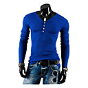 Men's Round T-Shirts , Cotton / Cotton Blend Long Sleeve Casual Fashion Winter / Spring / Fall YTFT