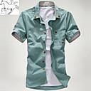 Pánské Tisk Denní nošení / Pracovní / Formální Krátký rukáv Směs bavlny Košile Modrá / Zelená / Bílá