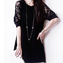 dámské kulatý výstřih šaty, krajky nad kolena ½ délka rukávu