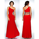 Formal Evening/Military Ball Dress - Ruby Sheath/Column One Shoulder Floor-length Polyester