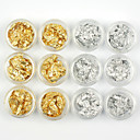 12ks nail art nehty ozdoby zlaté a stříbrné fólie odizolování pásku tipy nehtů