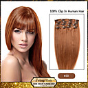 febay marke 20-22inch 8pcs 100g / set svijetlo kestenjaste (# 30) Brazilski djevica kosa isječak u ljudske kose