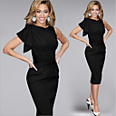 Přiléhavé na tělo kulatý tvar - Krátké rukávy - ŽENY - Dresses ( Směs bavlny )