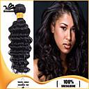 4個ブラジル深い波髪の束自然な黒100%未処理のブラジル人毛横糸を編みます