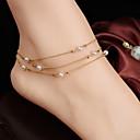 女性のシンプルな多層銅ビーズ真珠のチェーンアンクレット
