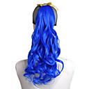 kvalitetni modni plava kosa kovrče rep perika