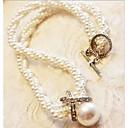 女性 ストランドネックレス パールネックレス 真珠 人造真珠 模造ダイヤモンド 合金 ジュエリー 結婚式 パーティー 日常 カジュアル 1個
