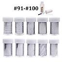 Nové 100designs nehty umění přenos folie papír 10ks + 1ks hřebík fólie lepidlo (od # 91 až # 100)