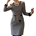 女性のOL通勤スリムウエストFLODツイードプラス(ストラップ付き)サイズのドレス