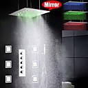 シャワー水栓 - 現代風 - LED / レインシャワー / サイドスプレー / ハンドシャワーは含まれている - 真鍮 (クロム)