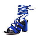 Women's Shoes Leather Chunky Heel Open Toe Sandals Dress / Casual Black / Blue / Green / Gray