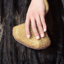 Gorgeous Satin with Rhinestone Peach Shape Evening Handbag/Clutches(More Colors)