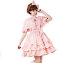 セット 甘ロリータ ロリータ コスプレ ロリータドレス ピンク ゼブラプリント 半袖 ミドル丈 ドレス / ショール のために 女性 コットン