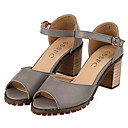 Women's Shoes Leatherette Chunky Heel Heels Sandals Outdoor / Casual White / Gray
