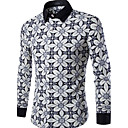 Men's Long Sleeve Shirt,Polyester Casual Print