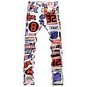 Print Muška Chinos hlače Ležerne prilike / Plus veličine,Pamuk Bijela