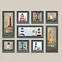 Krajina / Klidný život / Fantazie Set v rámu / Olejomalba v rámu Wall Art,Dřevo Materiál Tmavě modrá Včetně pasparty s rámem For Home