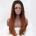 シルビア合成レースフロントウィッグ黒根茶色の髪オンブルヘア耐熱長い自然の波の合成かつら