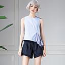 room404 ženske going out jednostavna ljetna blousestriped oko vrata bez rukava plava pamučna neprozirno