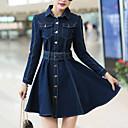 Ženski Haljina Dugih rukava - Iznad koljena - Ležerno - Traper