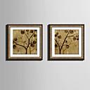 Cvjetni / Botanički Uokvireno platno / Uokvireni set Wall Art,PVC Zlatna Stalak uključen s Frame Wall Art