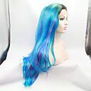 シルビア合成レースフロントウィッグ黒根青混合紫髪オンブルヘア耐熱長い自然の波の合成かつら