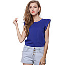 Women's Casual/Daily Simple Summer T-shirt,Solid Round Neck Short Sleeve Blue / Red / Green Polyester Medium