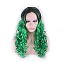 オンブルかつらpelucas pelo巻き毛の自然な合成かつらは、合成女性perruque耐性緑のアニメのコスプレウィッグを加熱原宿